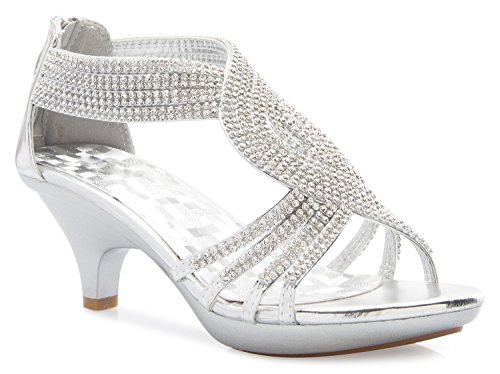 (OLIVIA K Women's Open Toe Strappy Rhinestone Dress Sandal Low Heel Wedding Shoes)