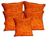 5Pcs-100Pcs Amazing India Orange Cotton Jari Embroidered Work Ethnic Cushion Covers Wholesale Lot