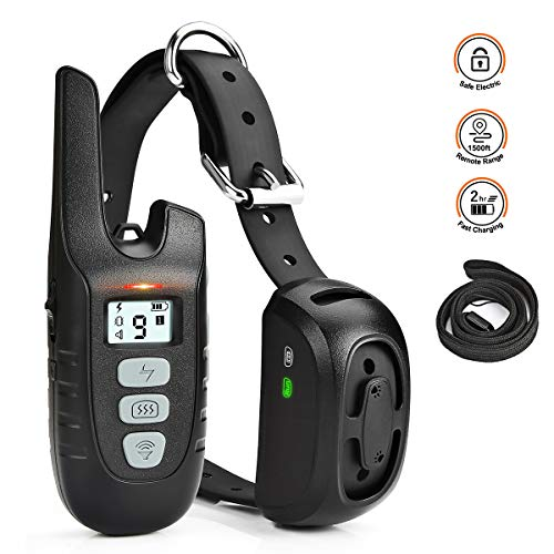 (Dog Training Collar with Remote Long Range up tp 1500ft Rechargable 100% Waterproof Electric Shock Vibration Beep Control Collar for Small Medium Large Dogs)