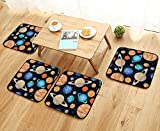 Elastic Cushions Chairs Cute Galaxy Space Solar System with Planets Mars Mercury Uranus Jupiter Venus Kids for Living Rooms W29.5 x L29.5/4PCS Set
