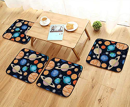 Elastic Cushions Chairs Cute Galaxy Space Solar System with Planets Mars Mercury Uranus Jupiter Venus Kids for Living Rooms W29.5 x L29.5/4PCS Set by Printsonne