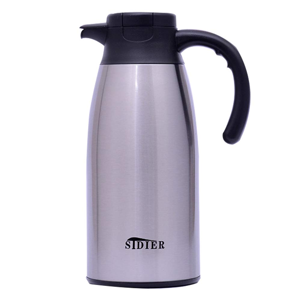 CFZHANG Coffee Pot Vacuum Jug Stainless Steel Thermal Carafes Double Wall Vacuum Insulated Juice/Milk/Tea Insulation Pot Press Button,2.1L