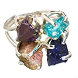Ana Silver Co Rough Apatite, Amethyst, Sunstone, Glass Filled Sapphire 925 Sterling Silver Ring Size 8 Adjustable RING830238