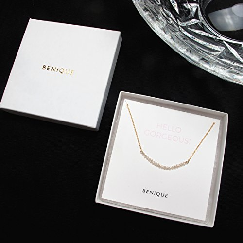 BENIQUE Dainty Necklace Choker for Women - Freshwater Cultured Pearl, Fine Chain for Layering, AAA Cubic Zirconia Drop, 14K Gold Filled, Made in USA, 13''+3'' Adjustable Ext. (Mini Pearl Bar) by BENIQUE (Image #5)