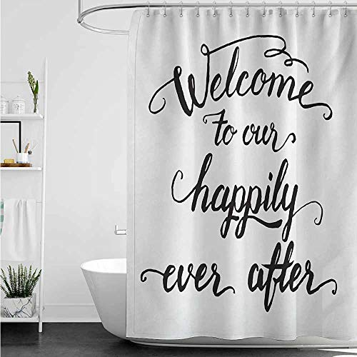 home1love Funny Shower Curtain,Quote Vintage Fountain Pen Lettering Wedding Phrase Welcome to Our Happily Ever After,Polyester Fabric Waterproof,W55x84L,Black and White