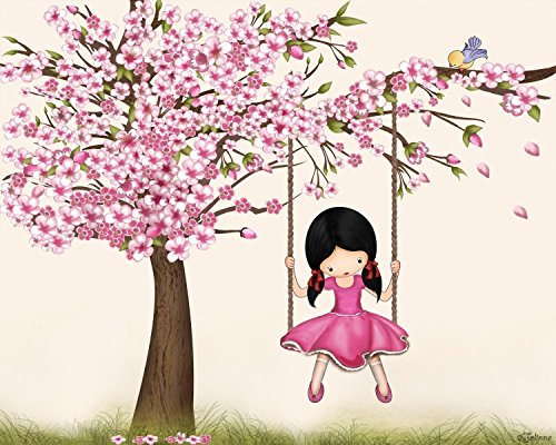 Cherry Blossom Tree Poster for Girls Room Kids Baby Nursery Children's Bedroom Wall Art