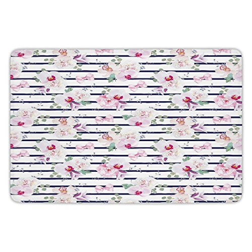 (Bathroom Bath Rug Kitchen Floor Mat Carpet,Navy and Blush,Spring Bouquets on Stripes Orchid Peony Bell Flowers Feminine Decorative,Indigo Pink Reseda Green,Flannel Microfiber Non-slip Soft Absorbent)