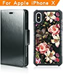 Modos Logicos Magnetic Detachable 2 in 1 Wallet Case Compatible with iPhone X, Vegan Leather Wallet Folio & Removable Air Cushion Case with Floral Pattern Tempered Glass Cover Back - Black/Flower