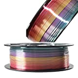 Silk Multicolored Rainbow PLA 3D Printer Filament, 1.75mm PLA Fast Color Change 3D Printing Material, 1kg Spool (2.2lbs), Widely Fit for FDM 3D Printers with One Bag Filament Sample Gift DO3D