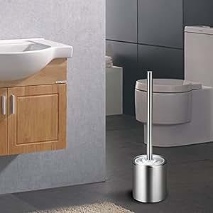Virklyee Escobillero de WC Elegante escobilla de baño de Acero Inoxidable Escobillas y portaescobillas de Inodoro (03-Cilíndrico)