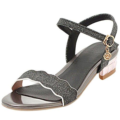Fashion Black Coolcept Strap Sandals Heel Low Women AwqHw1