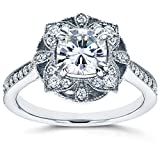 Antique Floral Cushion-cut Moissanite Engagement Ring 1 1/3 CTW 14k White Gold, Size 11