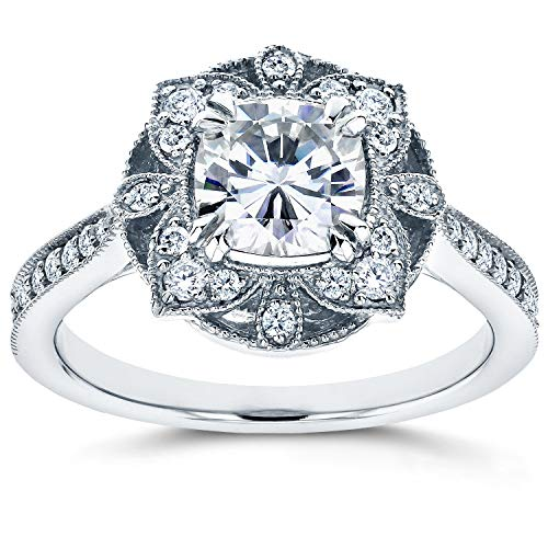 - Antique Floral Forever One (D-F) Moissanite Engagement Ring 1 1/3 CTW 14k White Gold, Size 4.5