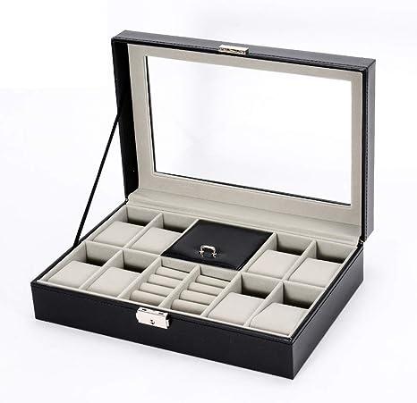 SHGK Caja Reloj 10 Ranuras, Soporte Caja Reloj con Tapa Cristal ...