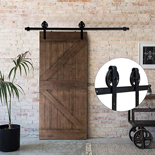 Bonnlo 8 FT Sliding Barn Close Wood Door Track Hanging Door Hardware Kit for Closet, Garage, Kitchen, Interior & Exterior Door (Black) (Big Industrial Wheel) ()