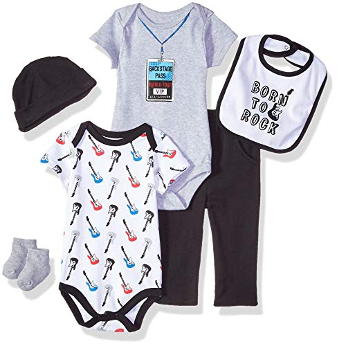 Rock Unisex - Little Treasure Baby 6 Piece Clothing Set, Born to Rock 0-3 Months (3M)