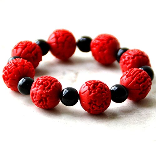 Hot Springs woman bracelet bracelet Chinese Red Fu Fu ball beads carved cinnabar lacquer bride wedding jewelry Chinese Carved Lacquer