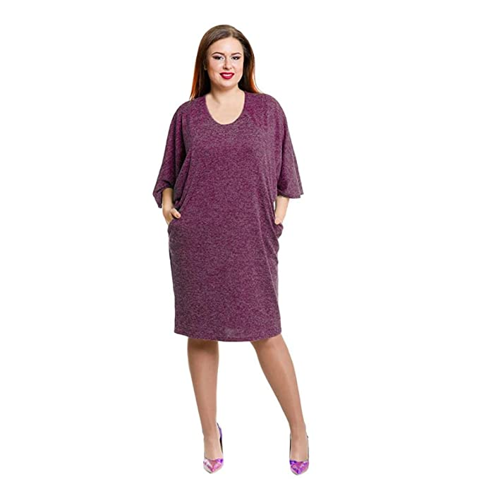 Amazon Three Quarter Sleeve Women Solid Plus Size Dress Loose V