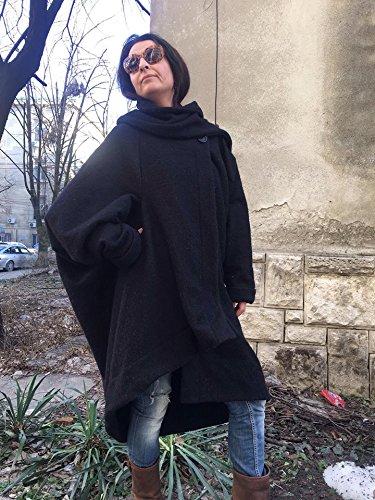 Womens black oversized coat cardigan,Navy loose coat, Shawl collar cardigan,Lagenlook Spring Cardigan,Asymmetrical Blanket Coat, Cape Coat by StudioMariya