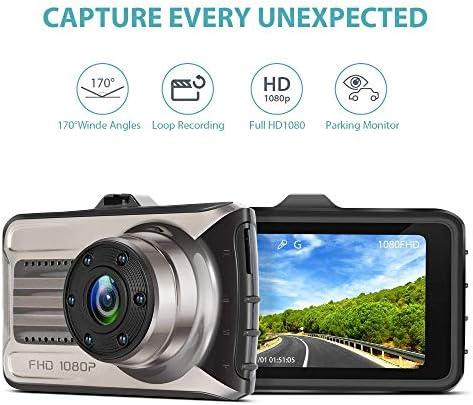 ダッシュカムインカー、1080PのフルHD車のカメラ、3インチ170°の車のためのワイドアングルDashcams、WDR 24H駐車場モニター、Gセンサーとループ・レコーディング