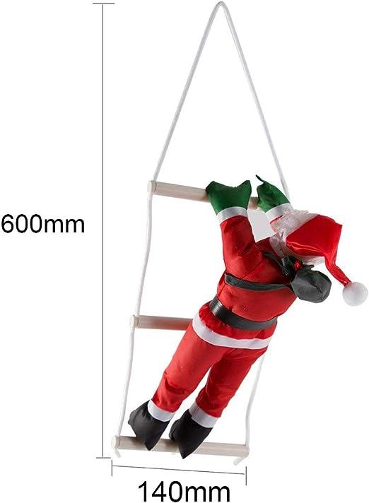 Moliies Papá Noel escaleras para trepar Decoración del árbol de Navidad Adorno de año Nuevo Papá Noel Que da Colgar Regalos de Gran tamaño con Escalera (Rojo): Amazon.es: Hogar