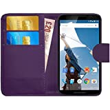 GizzmoHeaven Motorola Google Nexus 6 Leather Case Flip Wallet Cover for Motorola Google Nexus 6 with Screen Protector and Stylus Pen - Purple