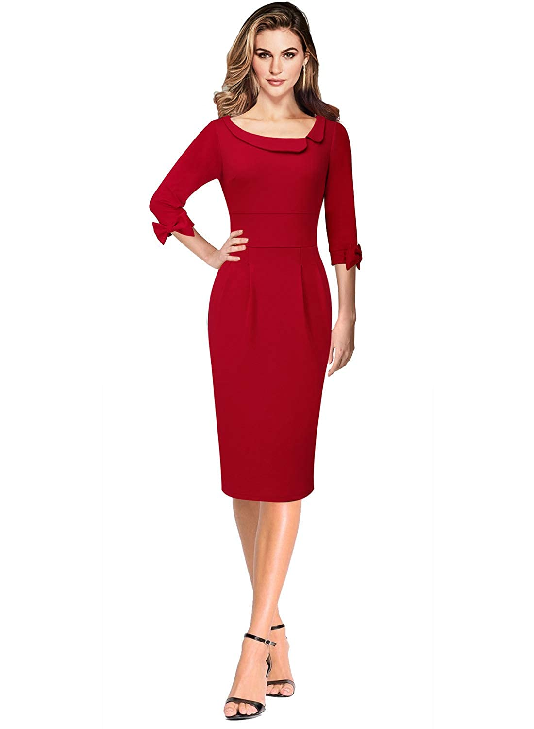 Red VFSHOW Asymmetric Neck Lapel Bow Sleeve Work Business Cocktail Sheath Dress