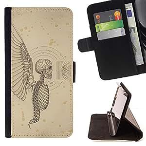 BullDog Case - FOR/Sony Xperia Z3 D6603 / - / ANGEL DEATH WINGS HELL SKELETON SKULL /- Monedero de cuero de la PU Llevar cubierta de la caja con el ID Credit Card Slots Flip funda de cuer