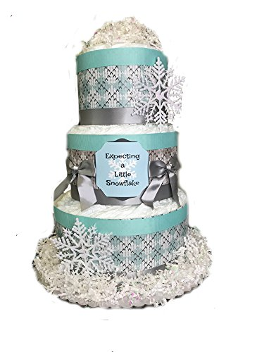 Expecting a Little Snowflake Baby Shower Diaper Cake- Teal by Rubber Ducky