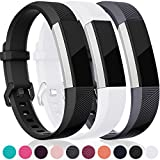 For Fitbit Alta HR and Alta Bands, Maledan Replacement Accessories Wristbands for Fitbit Alta and Alta HR, Black White Gray Large