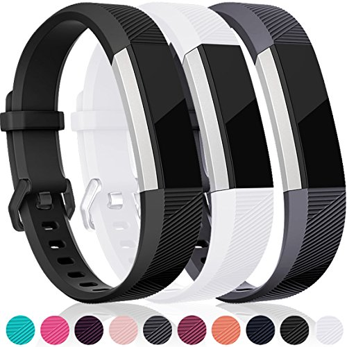 Maledan For Fitbit Alta HR and Alta Bands, Replacement Accessories Wristbands for Fitbit Alta and Alta HR, Black White Gray Small