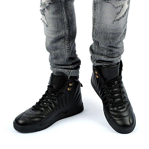 Fusskleidung Herren Sportschuhe High Top Sneaker Mehrfarbig Basketball Nieten Freizeit Schuhe Schwarz