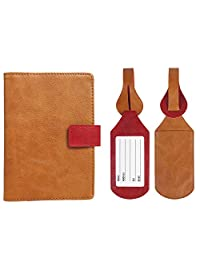 JAVOedge Duo Tone Color RFID Blocking Passport Case with Pen Holder and 2 Matching Luggage Tags (Brown/Red)