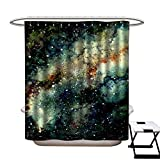 Flip Flop Shower Curtain warmfamily Home Decor Shower Curtain Watercolor Light Yellow Nebula and Deep Space Shower CurtainW48 x L84
