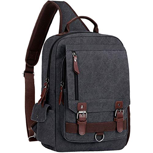 "WOWBOX Sling Bag for Men Women Sling Backpack Laptop Shoulder Bag Retro Canvas Crossbody Messenger Bag Fit 15.6"" Laptop Tablet"