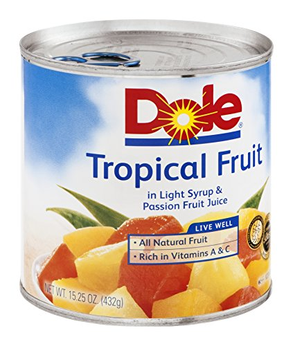 Dole, Tropical Fruit in Light Syryp & Passionfruit Juice, 15.25oz Can (Pack of 6)