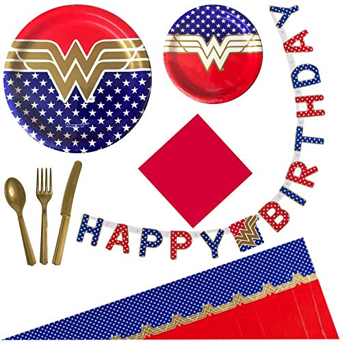 Wonder Woman Birthday Party Supplies for 16 Guests - Plates, Tablecover, Banner, Cutlery, Napkins]()