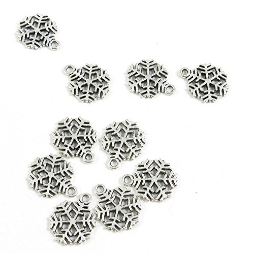 40 Pieces Antique Silver Jewelry Making Supply Charms Findings 47445 Snowflake Snow Flake