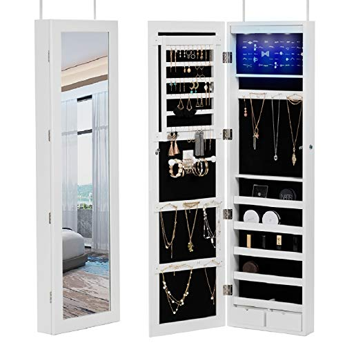 - Mecor Jewelry Cabinet,6 LEDs Wall Jewelry Armoire Full Length Mirror with Storage, Jewelry Mirror Cabinet Over The Door,Lockable Jewelry Organizer with 2 Drawers,5 Shelves (White)