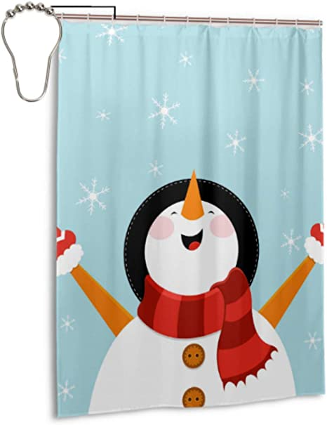 Amazon Com Lixhale Bathroom Door Window Curtain Cute Snow White Winter Christmas Snowman Men Bathroom Curtains 55 X 72 Inch 140x183 Cm Bath Curtain For Girls Polyester Fabric Waterproof Bathroom Curtains Home Kitchen