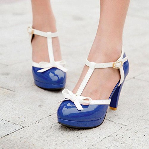 Heel Platform Tie Mary Cute T High Strap Pumps Dress Shoes 2 Royal DoraTasia Women's Janes Blue Bow Vintage Pqwx8t0