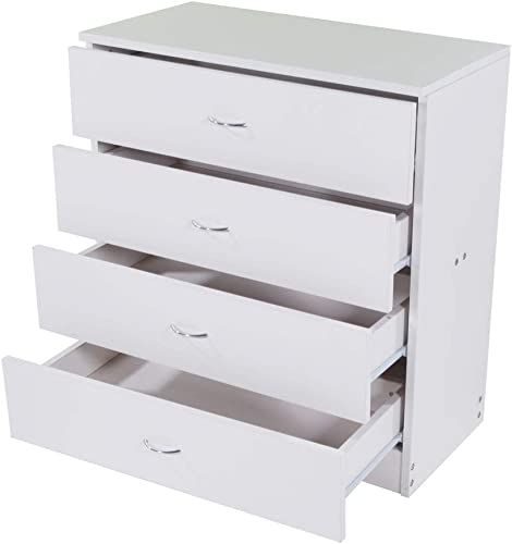 Takefuns MDF Wood Simple 4-Drawer Dresser White