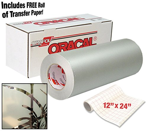 "ORACAL 8710 Frosted Translucent White Etched Glass 12"" x 24"" Window Vinyl Roll for Cricut, Silhouette & Cameo Including 12"" x 24"" Roll of Clear Transfer Paper (2 Roll Pack)"