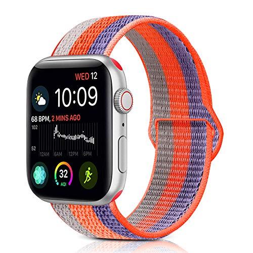 (Runostrich Compatible iWatch Sport Loop Nylon Band 44mm 42mm 40mm 38mm Soft Waterproof Strap Woven Stripe Adjustable Compatible Apple Watch Series 4 3 2 1,Edition Sport (Spicy Orange,42mm/44mm))
