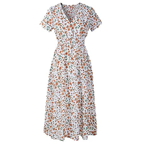 Birdfly Women Casual Breezy Floral Print Chiffon Thin Dress for Casual Daily Plus Size 2L. (M, (Style Frock)