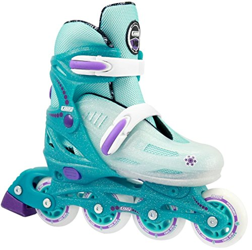 Crazy Skates Girl's Adjustable Inline Skate | Adjusts to fit 4 Shoe Sizes | Teal Glitter Ice | Model 148 | Small - j12-2 - Junior Nylon In Line Skates