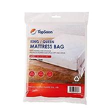 "TopSoon Plastic Mattress Bag King/Queen Size 78"" x 96"" High Transparency"