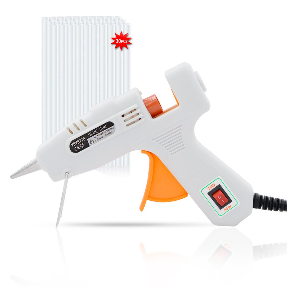 Hot Glue Gun with 30pcs Glue Sticks VEYETTE, 20/50W Hot Glue Gun Kit with Flexible Trigger for DIY Small Projects Craft Arts Repairs