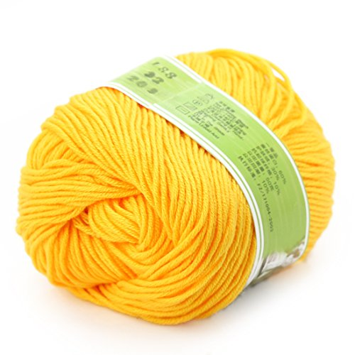 Worsted Knitting Yarn (joylve Knitting Yarn Skein Baby Super Smooth Worsted Soft Natural Silk Wool Fiber Golden Yellow)