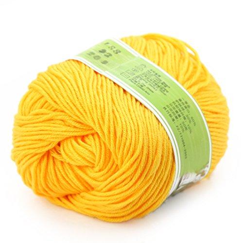 - joylve Knitting Yarn Skein Baby Super Smooth Worsted Soft Natural Silk Wool Fiber Golden Yellow